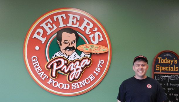 Peter's Pizza 3d Signage with Proud Owner